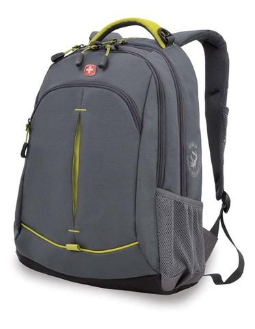 Качественный с гарантией прочный школьный рюкзак на молнии серый с лаймовым объёмом 22 л из полиэстера с боковыми карманами для бутылок из эластичной сетки, эргономичной ручкой, системой поддержки спины Comfort Fit, отделением  для МР3-плеера и отверстием для наушников WENGER 3165426408