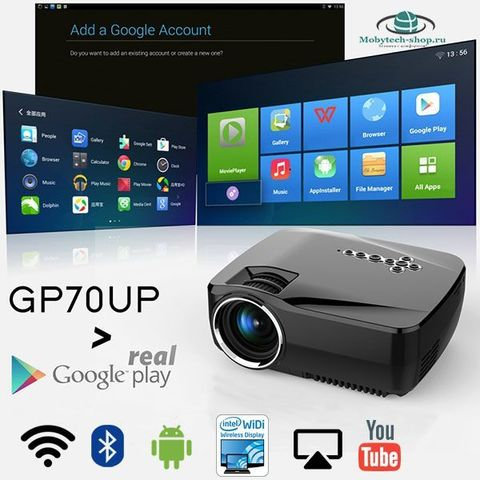 Проектор GP-70 UP Android 4.4 2.4G/5G WIFI Bluetooth 4.0