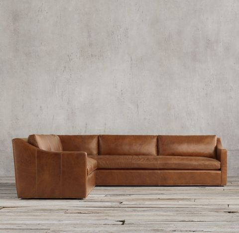 Belgian Classic Slope Arm Leather Right-Arm L-Sectional