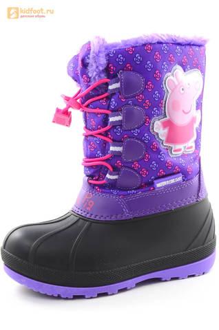 Зимние сапоги для девочек непромокаемые с резиновой галошей Свинка Пеппа (Peppa Pig), цвет сиреневый, Water Resistant. Изображение 1 из 15.