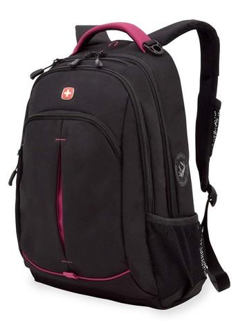 Качественный с гарантией прочный школьный рюкзак на молнии чёрный,фукси объёмом 22 л из полиэстера с боковыми карманами для бутылок из эластичной сетки, эргономичной ручкой, системой поддержки спины Comfort Fit, отделением  для МР3-плеера и отверстием для наушников WENGER 3165208408