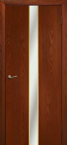 Дверь Дубрава Сибирь Айвенго, зеркало с рисунком/молдинг золото, цвет итальянский орех, остекленная