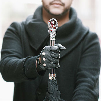 Зонт-трость Pasotti Black Mens Umbrella with Luxury Red Gem, Италия (арт.478 6768-1 W68).