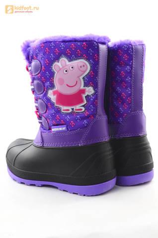 Зимние сапоги для девочек непромокаемые с резиновой галошей Свинка Пеппа (Peppa Pig), цвет сиреневый, Water Resistant. Изображение 6 из 15.