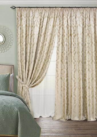 Комплект штор с тюлем жаккард с подхватами Афина шампань