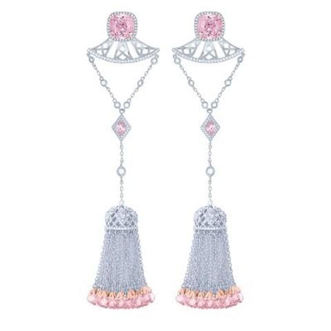 Серьги из серебра с кисточками и розовыми цирконами в стиле Ko Jewelry 4824
