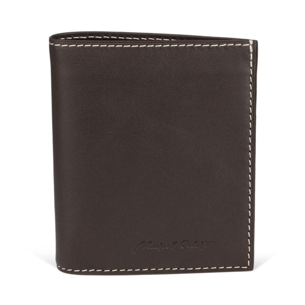 Портмоне-кошелек Pochette Bicolor из натуральной кожи теленка, темно-коричневого цвета