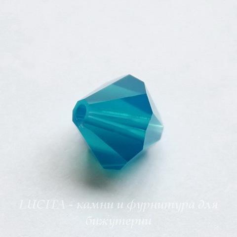 5328 Бусина - биконус Сваровски Caribbean Blue Opal 4 мм, 12 штук