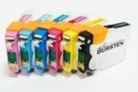 НАНО-картриджи BURSTEN NANO 2 SC3 для EPSON R200/R220/R300/R320 (T0481 - T0487) x 6 штук с патентованным замком-защелкой, модернизированным клапаном, чернильным/воздушными фильтрами тонкой очистки.
