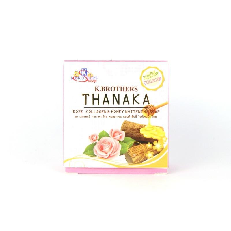 K.Brothers Отбеливающее мыло с Танакой, Розой и Медом Thanaka Rose Collagen & Honey Whitening Soap, 60 г