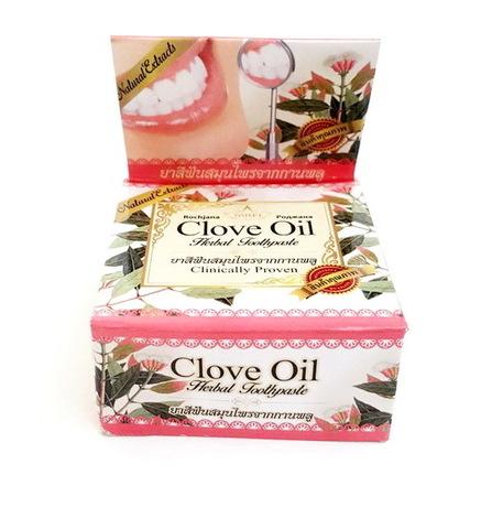 Отбеливающая зубная паста с растительными экстрактами Clove Oil, 30г  Rochjana