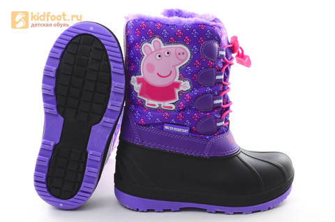 Зимние сапоги для девочек непромокаемые с резиновой галошей Свинка Пеппа (Peppa Pig), цвет сиреневый, Water Resistant. Изображение 8 из 15.