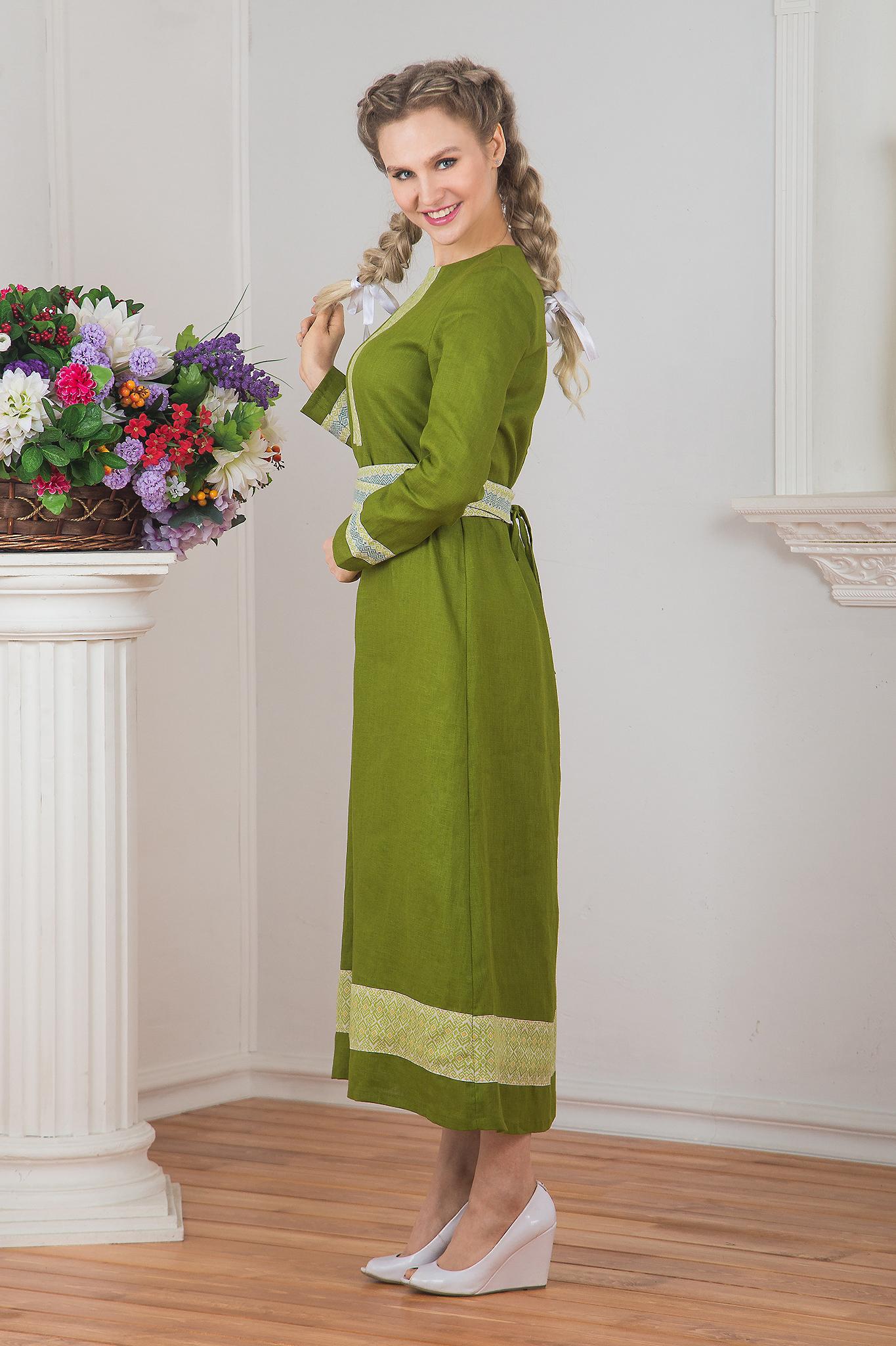 Вид сбоку Платье льняное Лесная нимфа