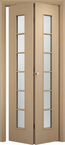 Дверь складная Верда С-12 (2 полотна), белое матовое, цвет беленый дуб, остекленная