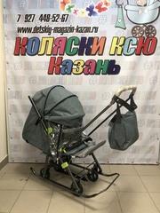 Санки-коляска Galaxy Snow Kids-3-3-С Джинс Серый