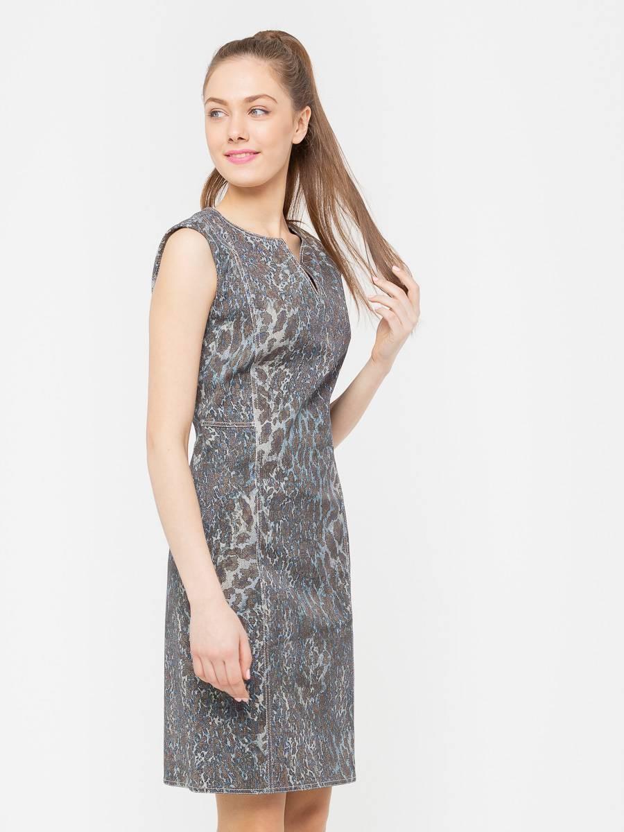 Платье З170-374 - Женственное и комфортное платье-футляр, приталенного силуэта,  из джинсового хлопка. Классические линии кроя идеально обрисовывают женственный силуэт. Подходит для офиса, романтических встреч, праздничных и вечерних мероприятий. Пояс в комплект не входит