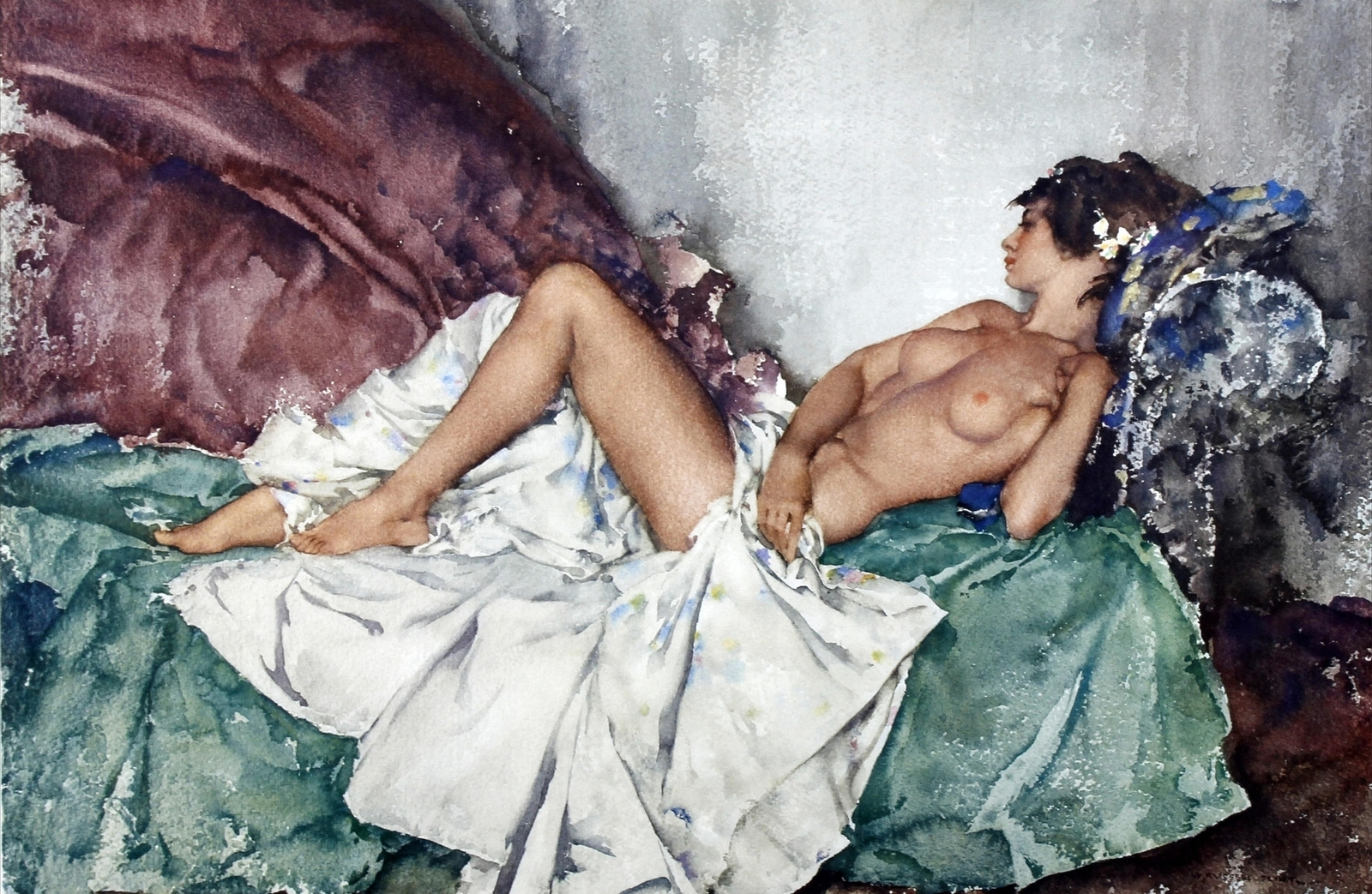 Сэр Уильям Рассел  Флинт. Лежащая обнаженная II (Reclining Nude II). 38.5 x 57. Акварель. Частное собрание.