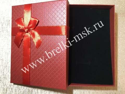 Подарочная коробочка, Цвет Красный, с атласной лентой. Размер 16х12х3,5 см.