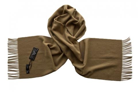 Шарф кашемировый однотонный коричневый 00855