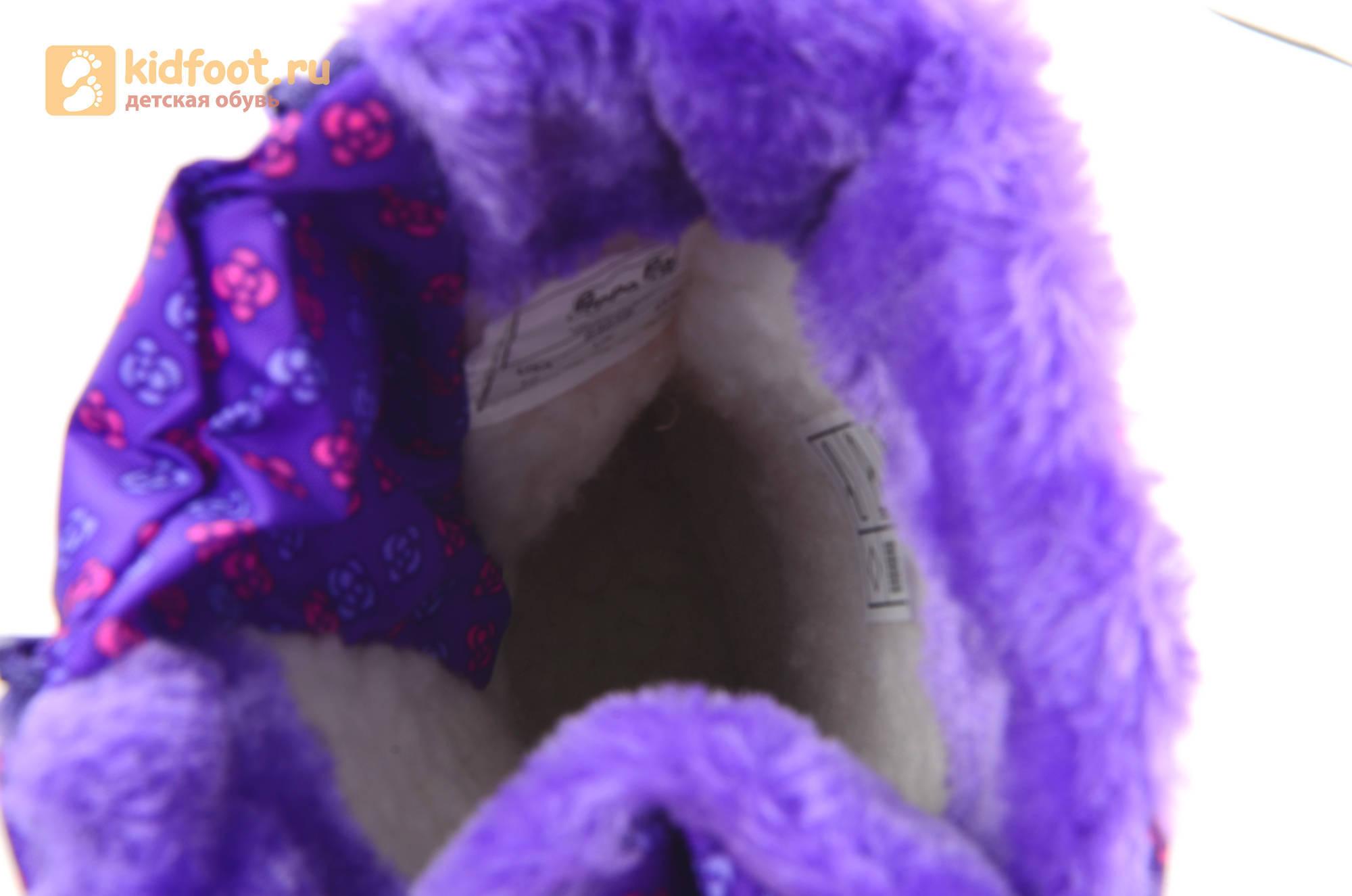Зимние сапоги для девочек непромокаемые с резиновой галошей Свинка Пеппа (Peppa Pig), цвет сиреневый, Water Resistant