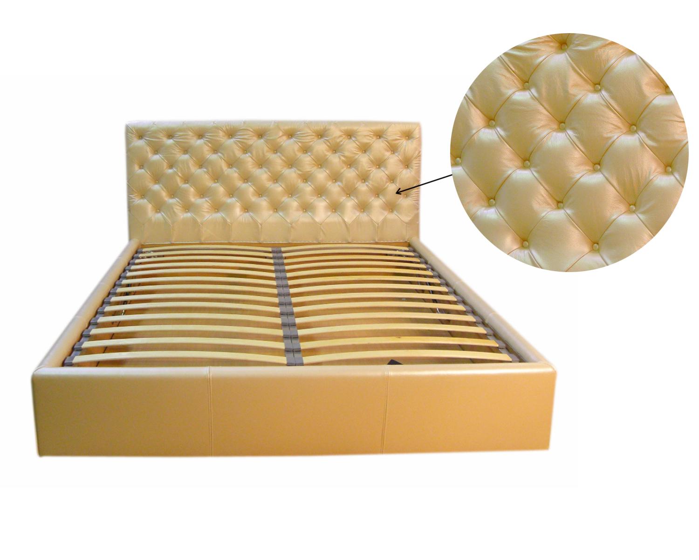 Кровать Венеция - обивка натуральная кожа