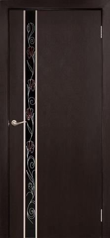 Дверь Дубрава Сибирь Маэстро-Маки, стекло с рисунком/молдинг серебро, цвет венге, остекленная