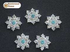 Стразовая снежинка с голубой серединкой на серебре №1