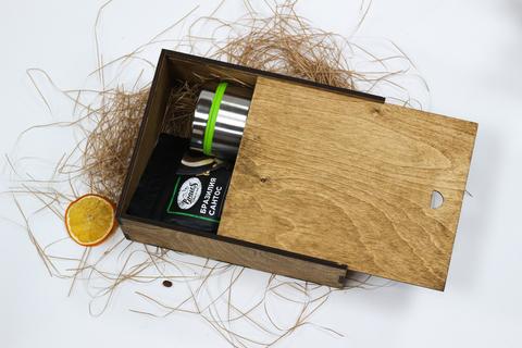 Набор кофе с термокружкой №1 в деревянном коробе