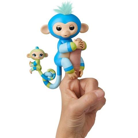 Фингерлингс Обезьянка с малышкой Билли и Эйдан, зелено-голубые