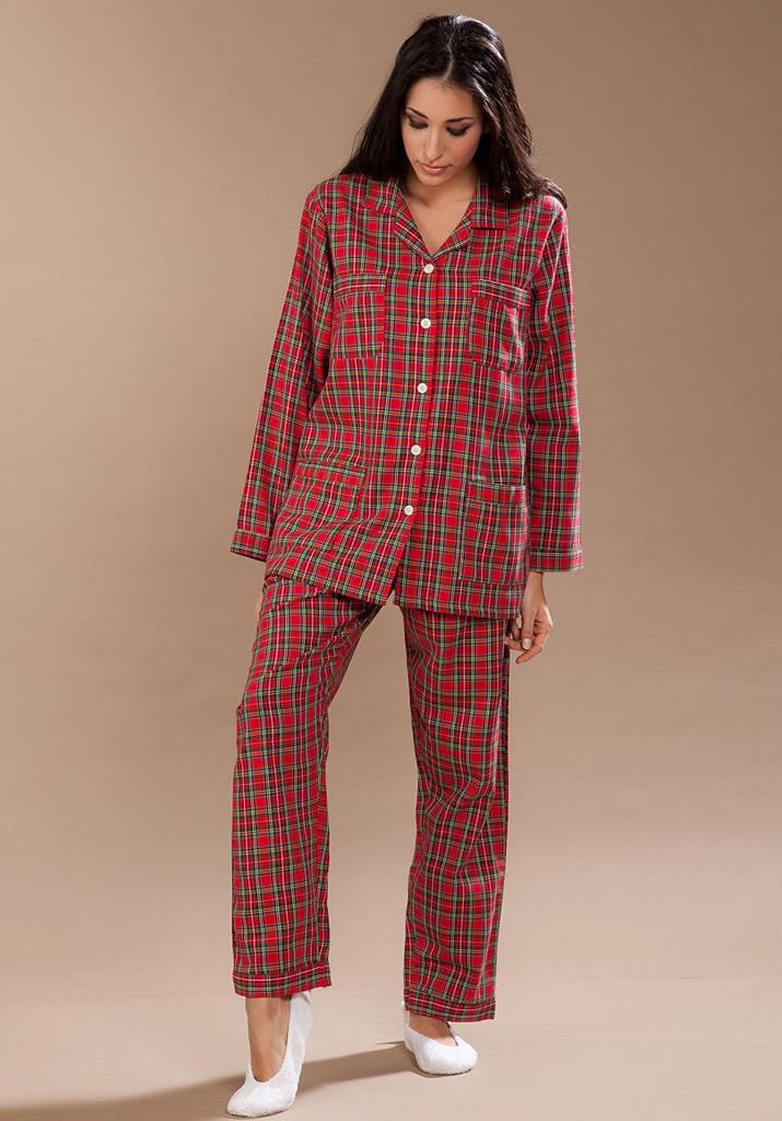 Фланелевая женская пижама в клетку Pellegrini (Домашние костюмы и пижамы)