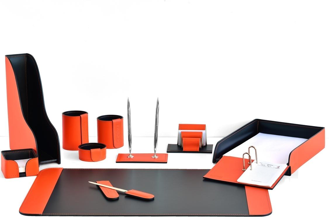 набор настольный и календарница из кожи оранж/шоколад
