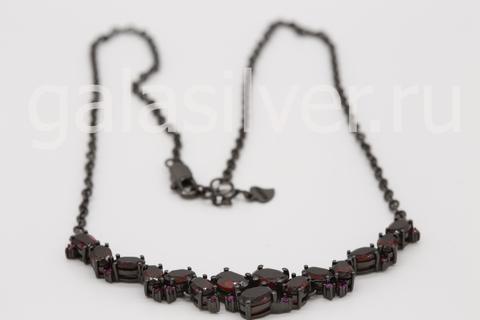 Колье с гранатом и рубинами из серебра 925