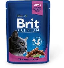 """Пауч для кошек, Brit Premium, """"Курица и индейка"""""""