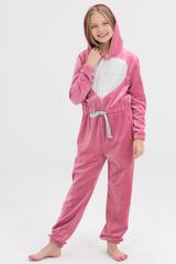 Пижама детская велюровая розовая