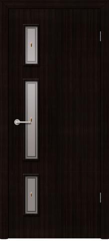 Дверь Фрегат Вертикаль, матовое с фьюзингом, цвет венге, остекленная