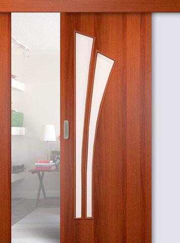 Дверь раздвижная Сибирь Профиль Лагуна (С-7), цвет итальянский орех, остекленная