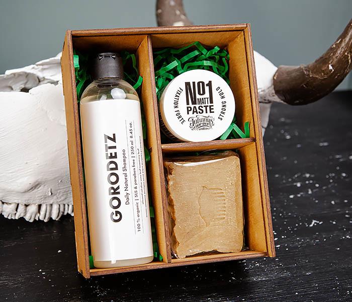 Мужской набор: шампунь, мыло для тела и паста для укладки