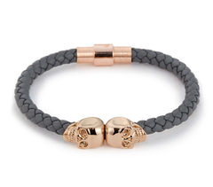 Браслет Northskull Steel Grey Nappa Leather 18kt. Rose Gold Twin Skull bracelet из натуральной кожи