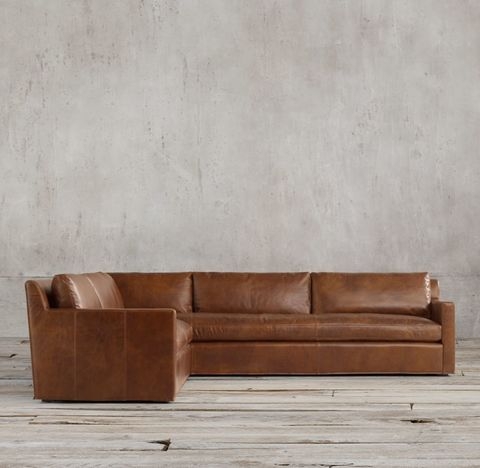 Belgian Track Arm Leather Left-Arm L-Sectional