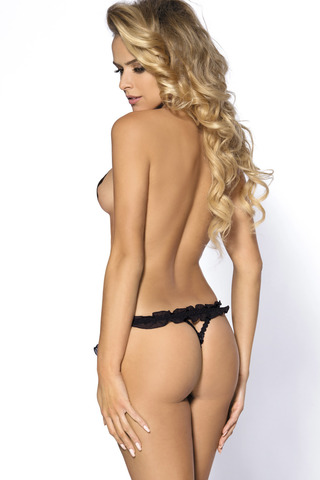 Черные эротические стринги с разрезом