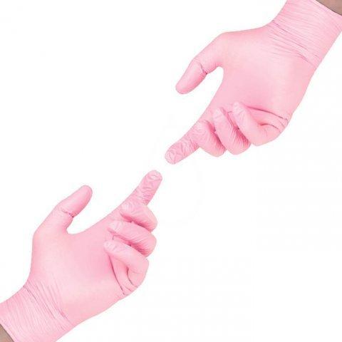 Перчатки нитрил розовые L, 100 шт