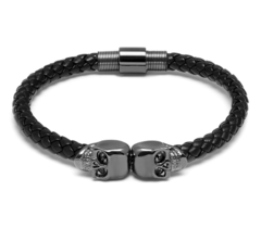 Браслет Northskull Black Nappa Leather / Gunmetal Black Twin Skull Bracelet из натуральной кожи