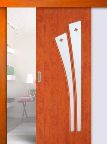 Дверь раздвижная Сибирь Профиль Лагуна (С-7ф) фьюзинг, фьюзинг, цвет итальянский орех, остекленная