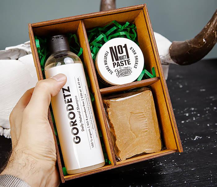 Мужской набор: шампунь, мыло для тела и паста для укладки фото 05