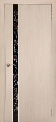 Дверь Дубрава Сибирь Маэстро-Маки, стекло с рисунком/молдинг серебро, цвет беленый дуб, остекленная