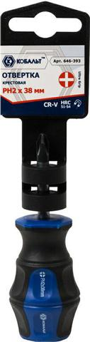 Отвертка Ultra Grip КОБАЛЬТ PH-2 х 38 мм CR-V, двухкомпонентная рукоятка (1 шт.) подвес