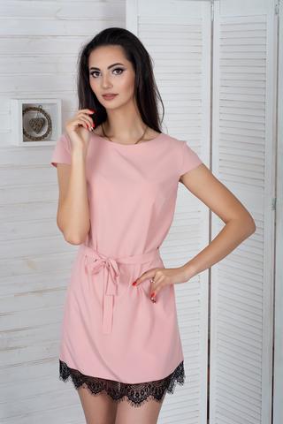 Соло. Легкое летнее платье с кружевом. Розовый