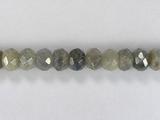 Бусина из лабрадора (спектролита), фигурная, 5x8 мм (рондель, граненая)