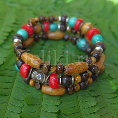 браслет из коралла, дерева и агата дзи