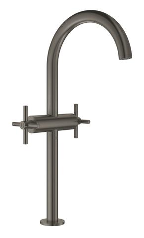 Atrio New Смеситель двухвентильный для раковины на 1 отверстие, для свободностоящих раковин, крестобразные ручки, размер XL, Графит
